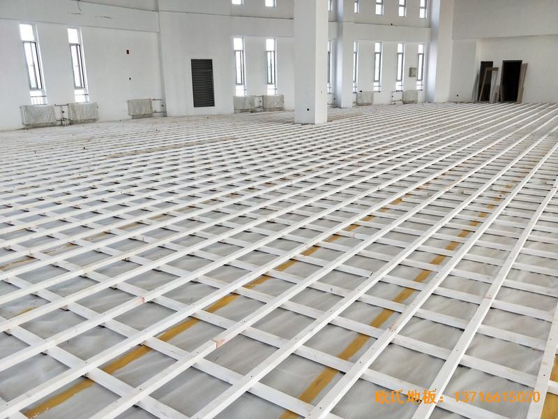 北京房山长阳小学篮球训练馆体育木地板铺设案例