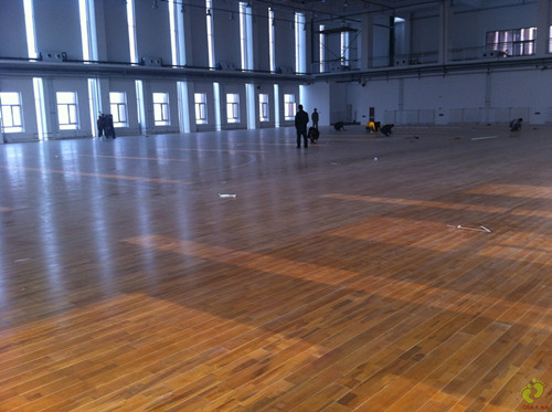体育木地板施工案例-天津商务学院篮球馆