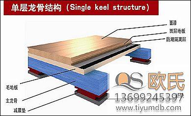 室内运动地板  体育木地板—单层板式龙骨经济